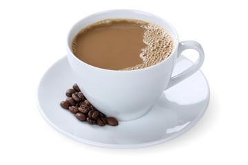Milchkaffee Kaffee mit Milch Cafe con Leche Latte in Tasse Freis