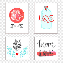 Beautiful Valentines day cards with hand drawn lettering. cute set with jar, man and bird illustration. Perfect for love day, birthday, save the date and poster