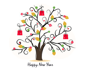 New year tree with diamonds greeting card vector background