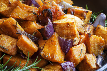 Sweet Potato baked with Red Onions and Rosemary