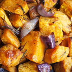 Roasted Sweet Potatoes with Red Onions and Rosemary