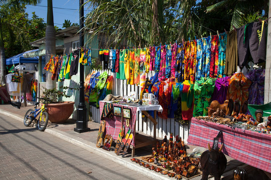 Colorful souvenirs and clothing for sale to tourists, Falmouth, Jamaica