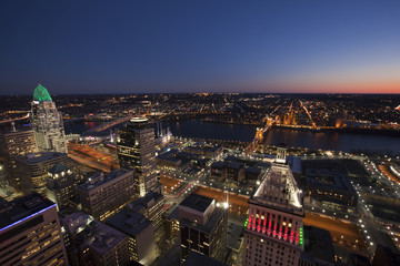 This is an aerial view of the city of Cincinnati, Ohio