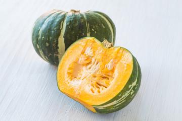 Kabocha, is Japanese pumpkin slice or green pumpkin on white background