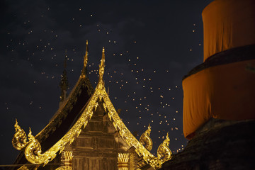 Floating asian lanterns in old town,Chiang Mai Thailand