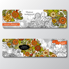 Vector templates set with science, medicine theme.