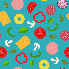 Seamless pattern with ingredients of pizza in flat style