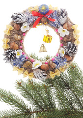 Christmas wreath with tree branch.