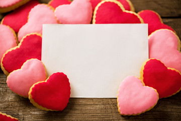 Valentine blank card with beautiful heart cookies