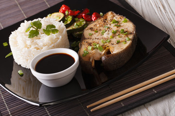 Asian Cuisine: Steak white fish, rice and sauce close-up. horizontal