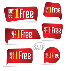 Buy one get one free, promotional sale labels collection