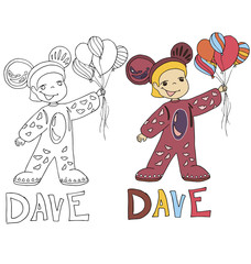 the simple drawing sketches cartoon and color with the image of children with different names in the compatibility with the character
