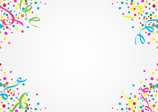 White background of colorful confetti and stars