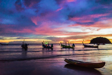 Boats on a colorful sunset in Thailand. Phuket. Kata Beach. (Fine art)