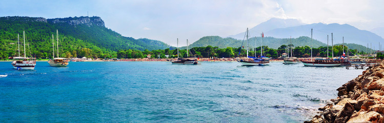 Panorama of Moonlight beach at Kemer, Antalya, Turkey