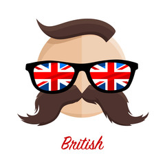 British hipster man with flag glasses and mustache / moustache. Vector illustration.
