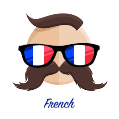 French hipster man with flag glasses and mustache / moustache. Vector illustration.