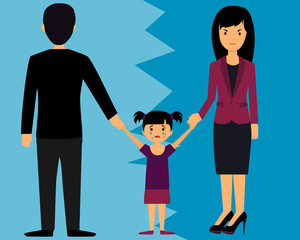 The concept of divorce. Parents divide child. Vector illustration