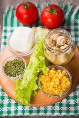 salad ingredients in studio