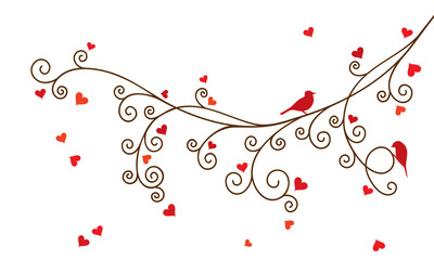 Vector illustration of curl abstract Valentine tree branch with red hearts.
