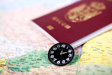 Passport on map,time to travel concept