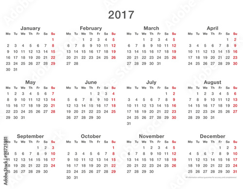 "2017 calendar simple mondays first, format long"" Stock image and ..."