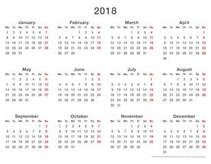 2018 calendar simple mondays first, format long