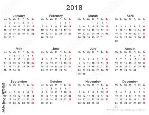 february 2018 calendar monday