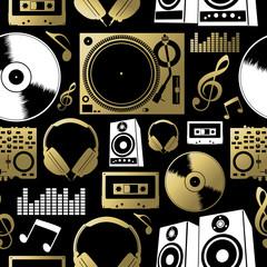 Music seamless pattern icon dj rock party club set