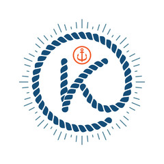K letter logo formed by rope with compass star and anchor