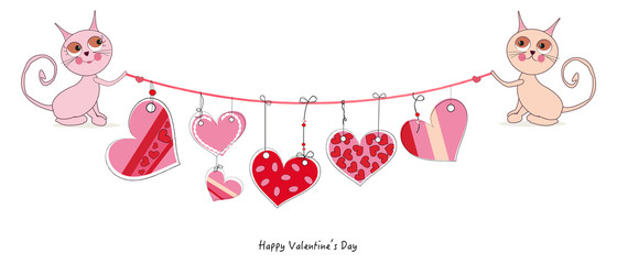 Happy Valentine's Day card with cute cats hanging doodle heart vector background