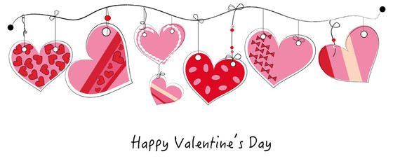 Happy Valentine's Day card with hanging doodle heart vector background