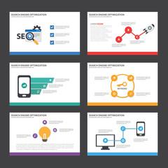 SEO presentation template Infographic elements flat design set for brochure flyer leaflet marketing advertising