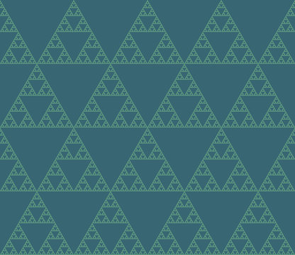 Seamless vector pattern of self-similar triangle constructions. Triangular fractal, eight levels of similarity.