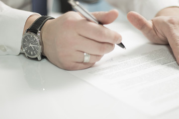Business contract in office