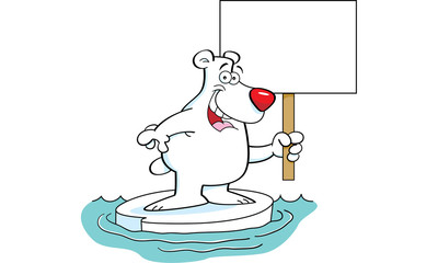Cartoon illustration of a polar bear holding a sign.