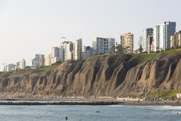 Miraflores with residential buildings and people on the beach, Lima, Peru