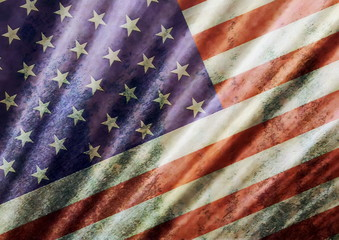 old grunge USA flag background and texture