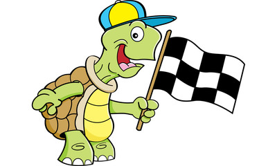 Cartoon illustration of a turtle waving a checkered flag.
