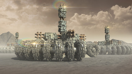 Fantasy transports and architecture on a red planet with circular wheels, pods and crates for planetary exploration or science fiction backgrounds