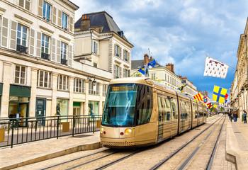 Tram on Jeanne d'Arc street in Orleans - France