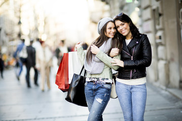 Young women in the shopping