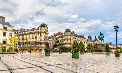 Place du Martroi, the main square of Orleans - France