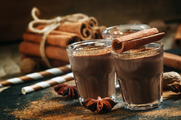 Hot liquid chocolate with warming winter spices, cinnamon, anise