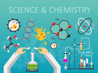 Chemical laboratory science and technology flat style design vector illustration. Scientists hands workplace concept