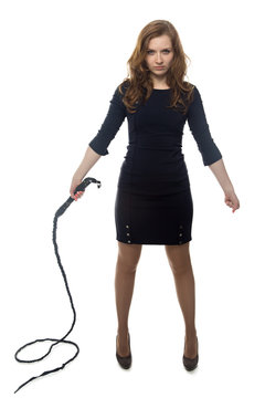 Aggressive woman with whip