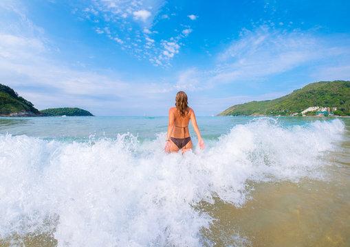 Beautiful woman on the beach in Phuket