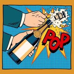opening champagne bottle pop art retro style