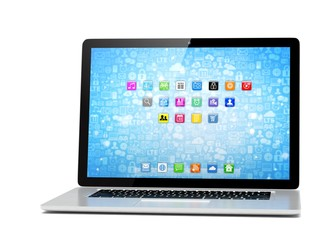 3d rendering of a laptop with blue wallpaper with app icon