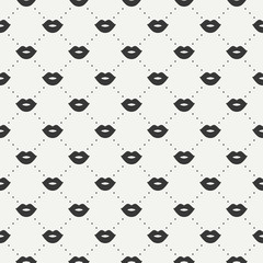Romantic hipster lips kiss seamless pattern. Wrapping paper. Scrapbook paper. Tiling. Vector illustration. Lipstick kiss prints. Black background. Graphic texture for design. Valentines day